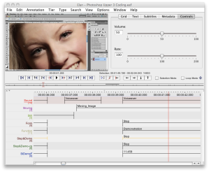 Screenshot taken of ELAN software program used in video coding project
